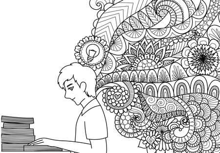 Het ontwerp van de lijnenkunst van de mens die boeken met de lenteideeën lezen voor illustratie en volwassene of jonge geitjes die boekpagina's kleuren. Vector illustratie. Stock Illustratie