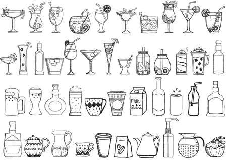 Big set of hand drawn drinks on white background Vettoriali