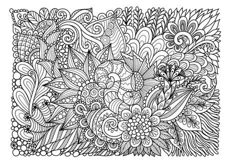 Abstract floral lineart for background and adult coloring book page. Vector illustration Vettoriali