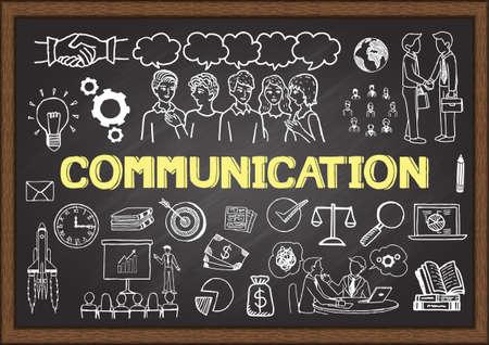 Hand getrokken illustratie over communicatie op schoolbord. Vector illustratie