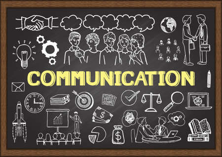 Hand drawn illustration about communication on chalkboard. Vector illustration