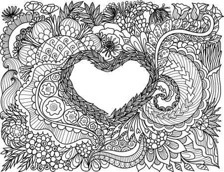 Line art design of beautiful abstract flowers scroll in hearted shape for valinetines card, wedding invitation and adult coloring book page. Vector illustration.