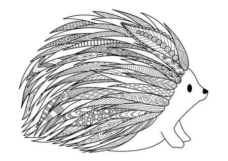 Lijnkunstontwerp van egel voor t-shirtontwerp, volwassen kleurende boekpagina