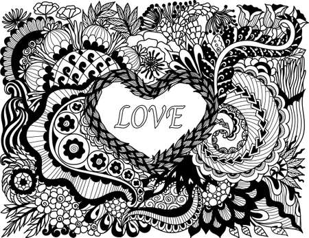reg: Line art design of beautiful abstract flowers scroll in hearted shape for valinetines card, wedding invitation and adult coloring book page. Vector illustration.