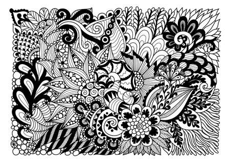 Abstract floral lineart for background and adult coloring book page. Vector illustration Çizim