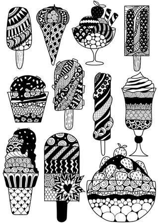 Big set of zendoodle design of ice cream for design element, adult or kids coloring book page. Vector illustration. Illustration