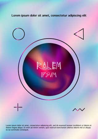Color smoke flowing inside circle on vaporwave light color background,design for poster,flyer Ilustração