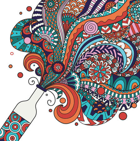 Colorful champagne bottle line art design for poster,banner,illustration. Stock vector