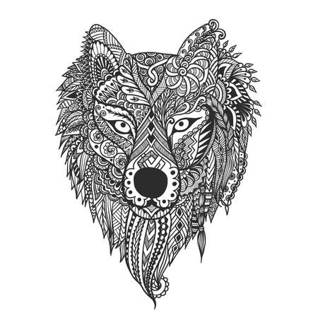 Hand drawn wolf face for t shirt design and other design element. Vector illustration