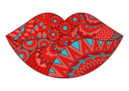 Line art design of lips for design element and adult coloring book.