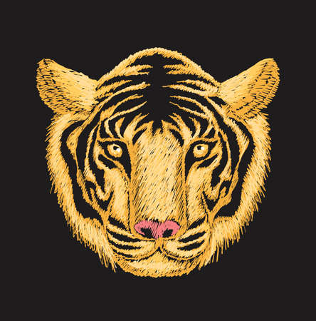 Tiger face embroidery design with yellow and orange threads on black cloth. Illustration