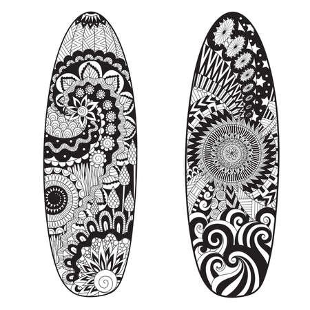 Lijnkunstontwerp van twee surfplanken voor ontwerpelement en volwassen kleurende boekpagina.