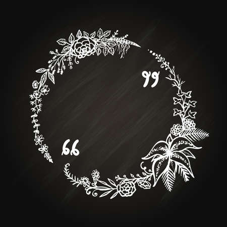 Hand drawn floral circle with copy space for your texts,quotes, sayings. Illustration