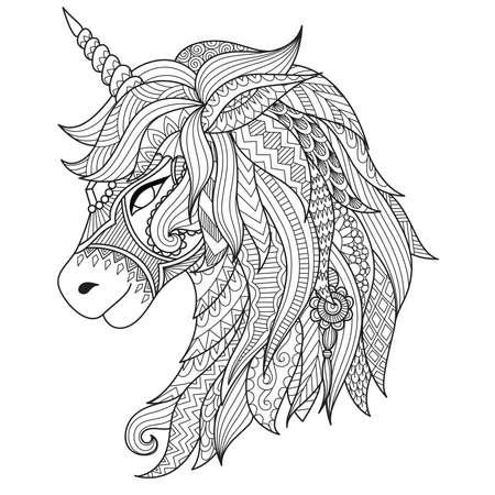 Drawing unicorn zentangle style for coloring book, tattoo, shirt design, logo, sign. stylized illustration of horse unicorn in tangle doodle style. Illusztráció