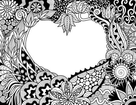 카드와 성인 색칠하기 책 페이지에 대 한 마음 모양에 벤딩 꽃의 라인 아트. 벡터 일러스트 레이 션 일러스트