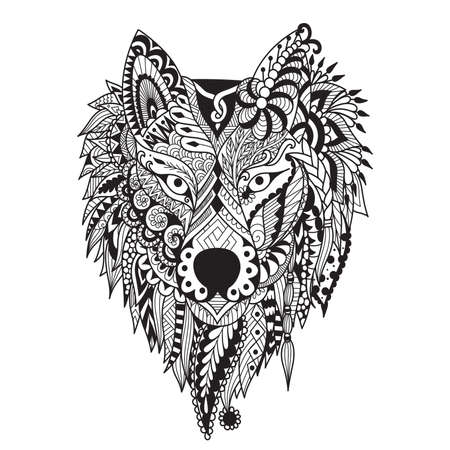 Zendoodle stylize of dire wolf design for tattoo, bag ,mug, pillow cover,T-shirt and adult coloring book page. Stock Vector Ilustração