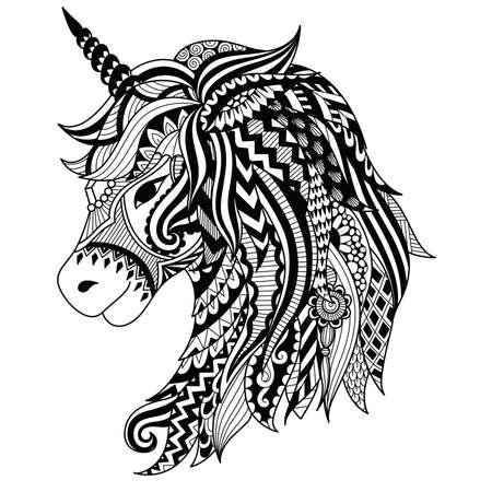 Disegno stile zentangle unicorno per il libro da colorare, tatuaggio, disegno camicia, logo, segno. figura stilizzata di unicorno cavallo in groviglio stile Doodle.
