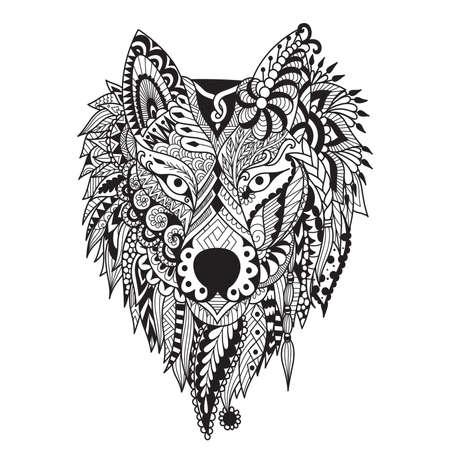 Zendoodle stylize van dire wolf design voor tattoo, tas, mok, kussensloop, T-shirt en volwassen kleurboekpagina. Voorraad Vector Stock Illustratie