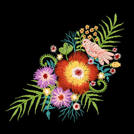 Little bird standing on beautiful flowers branch embroidery stitches design. Vector illustration Stock fotó - 83950480