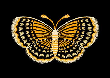 Gele lijnen in vlindervorm, borduurwerkontwerp Vector illustratie Stock Illustratie
