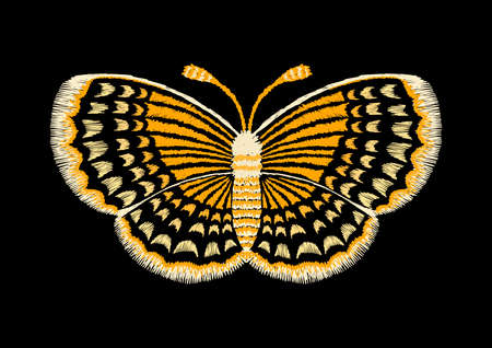 Yellow lines in butterfly shape,embroidery design.Vector illustration