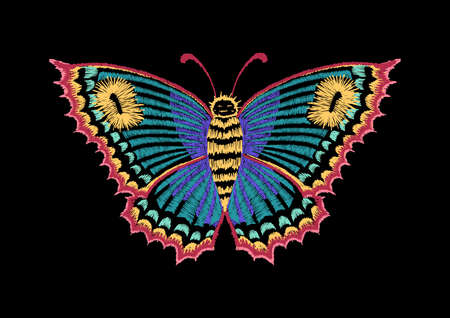 Vintage butterfly, decorative element for embroidery, patches and stickers Ilustrace
