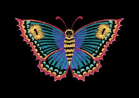 Vintage vlinder, decoratief element voor borduurwerk, patches en stickers Stock Illustratie