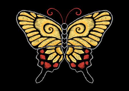黄色の蝶刺繍デザイン-ストック イラスト  イラスト・ベクター素材