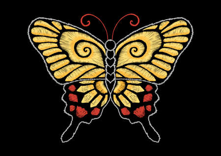Yellow butterfly embroidery design– stock illustration