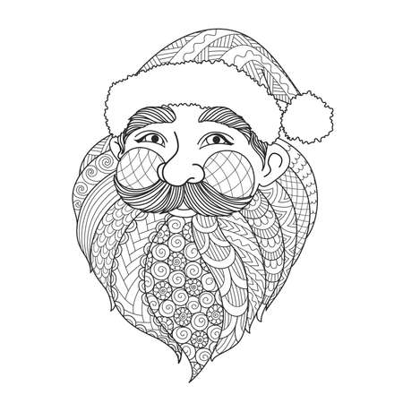 Line art design of smiley Santa Claus for design element and adult coloring book page. Vector illustration