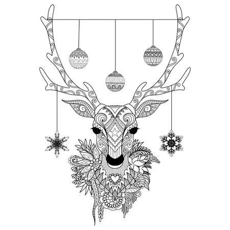 dominant: Line art design of Christmas deer head with decortative balls and snowflakes and flowers. Vector illustration