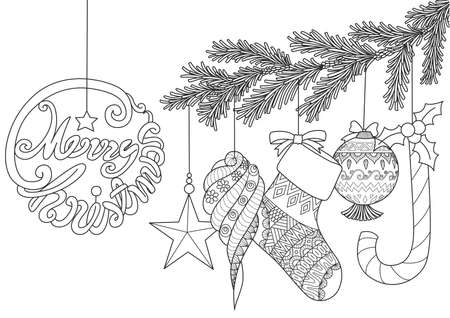Christmas ornamentals for adult coloring book pages.Vector illustration