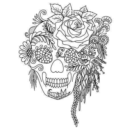 Het ontwerp van de lijnkunst van schedel verfraait met bloemen en bladeren die op witte achtergrond voor volwassen kleurend boek worden geïsoleerd. vectorillustratie