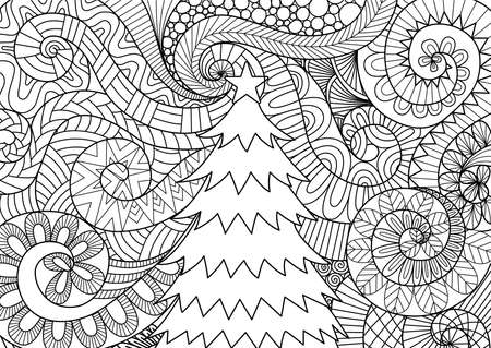 Line art design of storm scrolling and Christmas tree for print design and adult coloring book page. Vector illustration