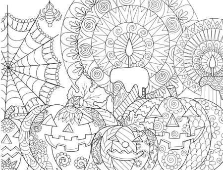 Calabaza de Halloween, velas, araña, telaraña para página de libro de colorear para adultos y elemento de diseño. Ilustración vectorial Foto de archivo - 85648316