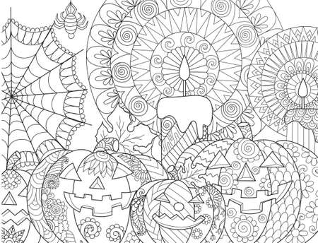 Halloween pumpkin,candles,spider,cobweb for adult coloring book page and design element. Vector illustration Illustration