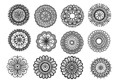 Big set of hand drawn floral mandala isolated on white background for design element. Vector illustration
