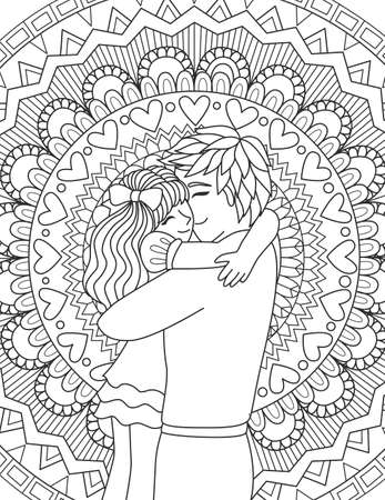 Father hugging his daughter on zendoodle design pattern design for card and adult coloring book page. Vector illustration 向量圖像