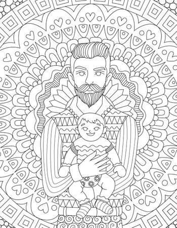 카드, 초대 및 성인 색칠하기 책 페이지에 대 한 그의 칠 디자인을 운반하는 Hipster 아빠. 일러스트