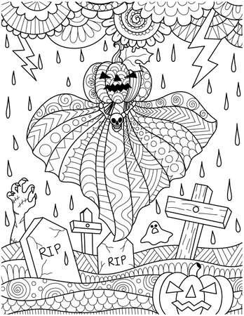 Flying pumpkin ghost above graveyard for card design Illustration