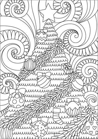 Line art design of storm scrolling and Christmas tree for print design and adult coloring book page.
