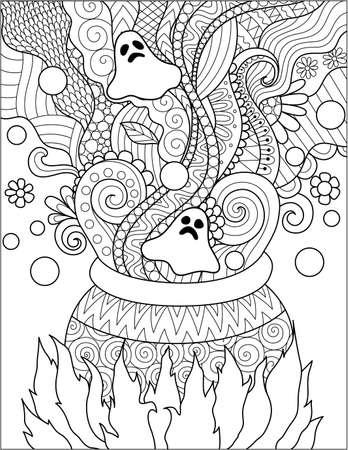 할로윈 카드, 초대 및 성인 색칠하기 책 페이지에 대 한 가마솥 끓는 독의 라인 아트 디자인 벡터 일러스트 레이 션