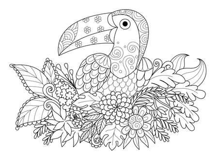 Het ontwerp van de lijnkunst van de vogelzitting van de Toekan op tak voor volwassen kleurende boekpagina. Zwarte en witte vectorillustratie