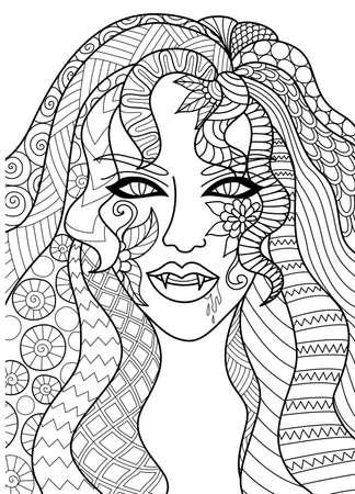 Het ontwerp van de lijnkunst van sexy heksenhoofd voor Halloween-kaart, uitnodiging en volwassen kleurende boekpagina Vector illustratie