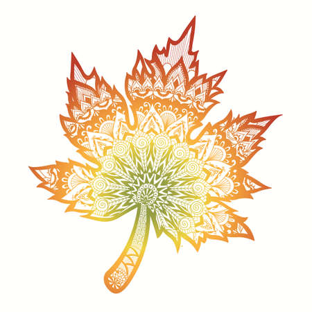 Zen art design of the autumn leaf with green, yellow, orange and red gradient color isolate on whit background.