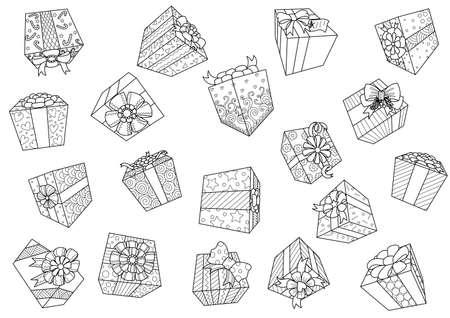 Falling gift boxes isolated on white background for design element.Vector illustration Illustration