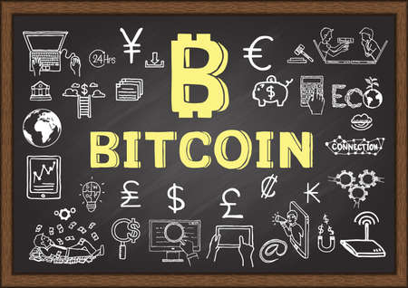 Hand drawn illustration about Bitcoin on chalkboard.