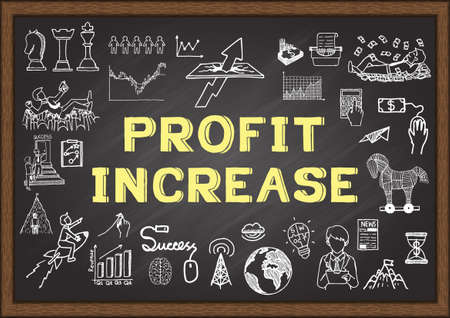 Hand drawn icons about Profit Increase on chalkboard.Vector illustration