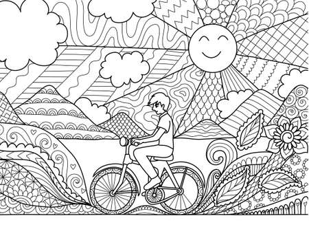 Young man riding bicycle happily in beautiful nature for adult coloring book page and other design element. Vector illustration