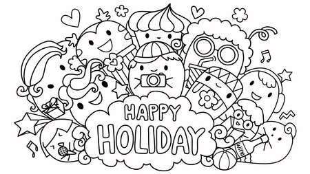 The word Happy Holiday in speech bubble with cute monsters with their favorite hobby. For design element and kids or teens coloring book page. Ilustração